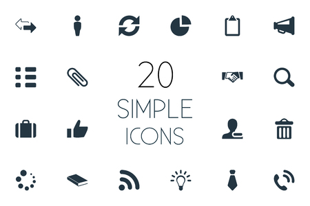 Vector Illustration Set Of Simple People Icons. Elements Rubbish Can, Fastener, Cravat And Other Synonyms Wait, Access And Chart. Illustration