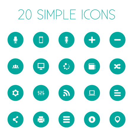 web browser: Vector Illustration Set Of Simple Design Icons. Elements Karaoke, Publish, Printer And Other Synonyms Navigation, Company And Education.