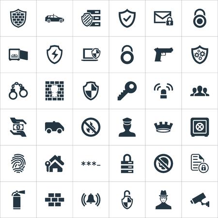 簡単な安全アイコンのベクター イラスト セット。要素の安全、刑務所、承認と他の類義語統一ロッカーと警官。