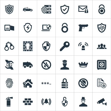 Vector Illustration Set Of Simple Safety Icons. Elements Safety, Penitentiary, Approve And Other Synonyms Unity, Locker And Cop. Ilustrace