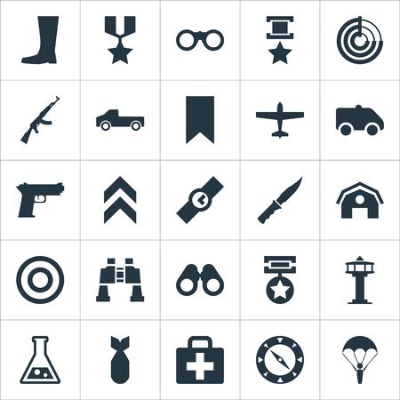 Illustrazione vettoriale Set di icone semplici dell'esercito. Elementi Emergency, Medal, Radio Locator e altri sinonimi Telescopio, Fucile e Kalashnikov. Archivio Fotografico - 85165791
