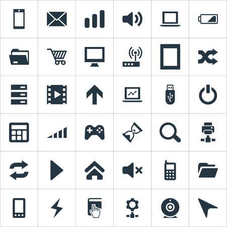 Vector Illustration Set Of Simple Computer Icons. Elements Folder, Joystick, Reload And Other Synonyms Wave, Joystick And Dossier.