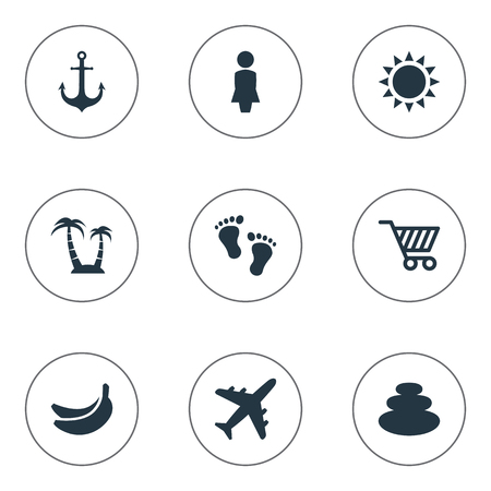 Vector Illustration Set Of Simple Beach Icons. Elements Ship Stop, Balance, Barefoot And Other Synonyms Footprint, Trip And Barefoot.