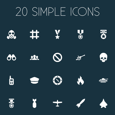Vector Illustration Set Of Simple Combat Icons. Elements Bombshell, Aircraft, Trophy And Other Synonyms Military, Space And Skull. Çizim