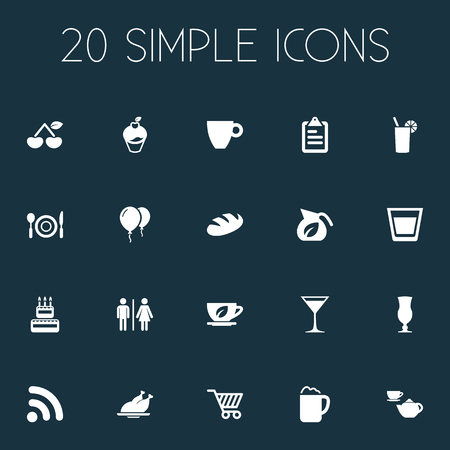 Vector Illustration Set Of Simple Restaurant Icons. Elements Pub, Market Trolley, Bread And Other Synonyms Cutlery, Vodka And Restroom.