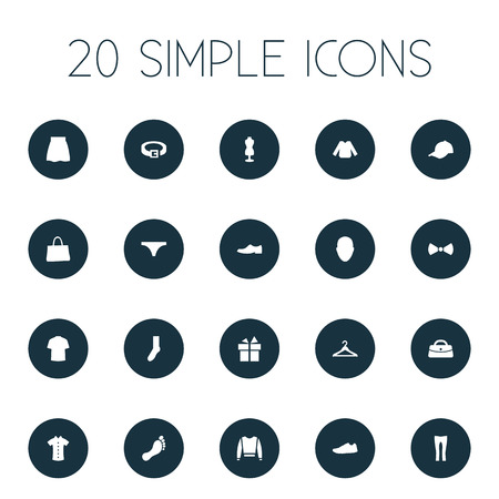 Vector Illustration Set Of Simple Wardrobe Icons. Elements Barefoot, String, Formal Wear And Other Synonyms Hook, Running And Footwear.