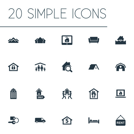 Vector Illustration Set Of Simple Real Icons. Elements Lease Information, Glass Tower, Search And Other Synonyms Stock, Shipping And Capital. Banco de Imagens - 85165820