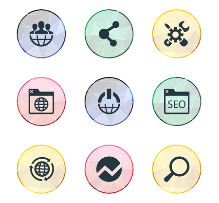 Vector Illustration Set Of Simple Review Icons. Elements Loupe, Power Button, Global And Other Synonyms Planet, Button And Global. Illustration