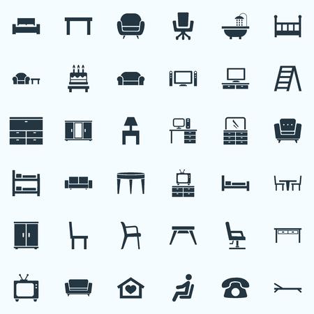 벡터 일러스트 레이 션 간단한 가구 아이콘의 집합입니다. 요소 시네마 시스템, 좌석, 안락 의자 및 기타 동의어 회의, TV 및 Canape.