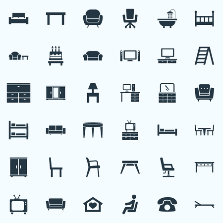Vector Illustration Set Of Simple Furniture Icons. Elements Cinema System, Seat, Armchair And Other Synonyms Conference, Tv And Canape.