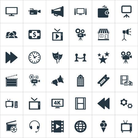 簡単な映画のアイコンのベクトル イラスト セット。要素のキャッシュ書き込みボード、レトロなテレビ、他の同義語液晶コント ローラーとスワイ