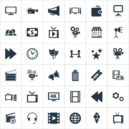 Vector Illustration Set Of Simple Film Icons. Elements Cash, Write Board, Retro Tv And Other Synonyms Lcd, Controller And Swipe.