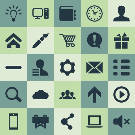 Illustrazione vettoriale Set di icone semplici dell'interfaccia utente. Elements Reconstruction, Publish, Clock e altri sinonimi Storage, Design e Developer. Archivio Fotografico - 85165829