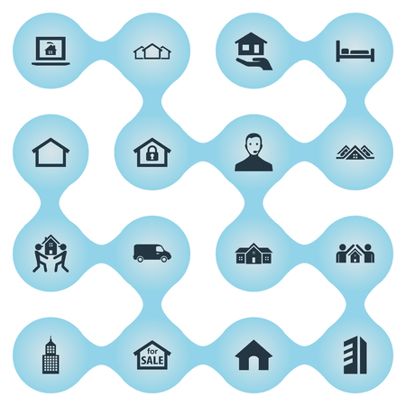 Vector Illustration Set Of Simple Estate Icons. Elements Trade, Doghouse, Bed And Other Synonyms Bus, Eco And Hotel. Banco de Imagens - 85165832