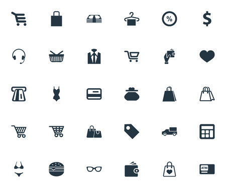 Vector Illustration Set Of Simple Sale Icons. Elements Electronics, Truck, Buy Button And Other Synonyms Underwear, Trolley And Under.