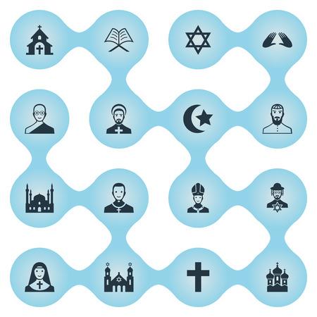 Illustration vectorielle définie des icônes simples de religion. Éléments musulman, crucifix, chrétien et autres synonymes judaïque, étoile et chauve. Banque d'images - 85165877
