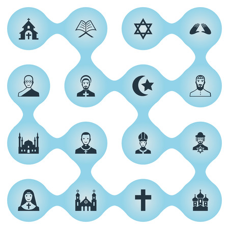 Vector Illustration Set Of Simple Religion Icons. Elements Muslim, Crucifix, Christian And Other Synonyms Judaic, Star And Bald.