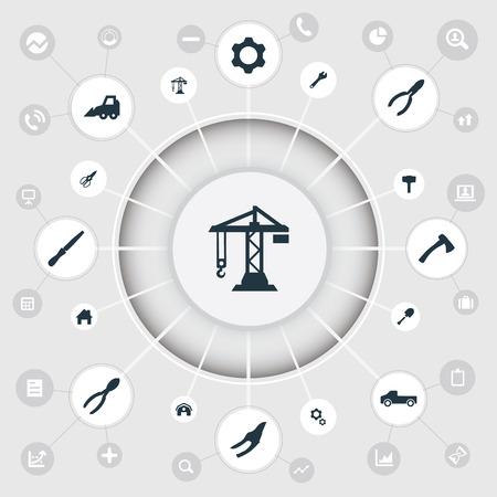 Vector Illustration Set Of Simple Work Icons. Elements Hangar, Nippers, Fretsaw And Other Synonyms Hoisting, Axe And Detail. Illustration