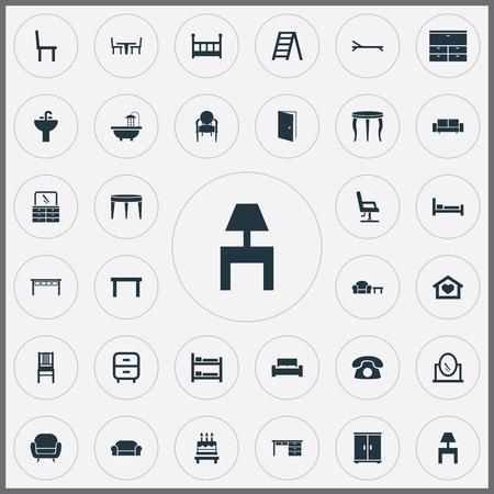 Vector illustratie Set van eenvoudige meubels pictogrammen. Elementen lagers, slaapkamer, lounge en andere synoniemen voetpad, zijkant en matras. Stockfoto - 85165894