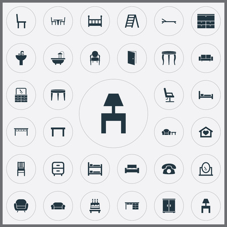 Vector Illustration Set Of Simple Furnishings Icons. Elements Bearings, Bedroom, Lounge And Other Synonyms Footway, Side And Mattress.