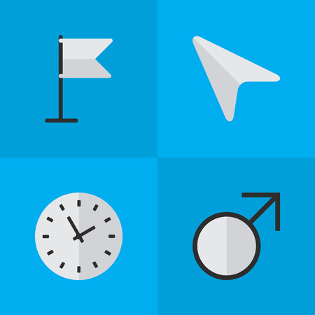 Vector Illustration Set Of Simple Menu Icons. Elements Mars Sign, Banner, Time And Other Synonyms Mouse, Time And Clock.