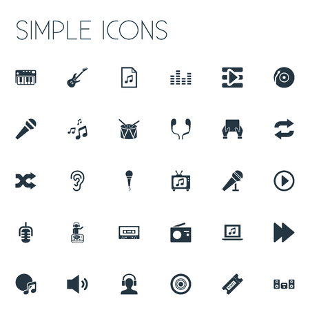 Vector Illustration Set Of Simple Music Icons. Elements Synthesizer, Microphone, Album And Other Synonyms Next, Piano And Earmuff. Illustration