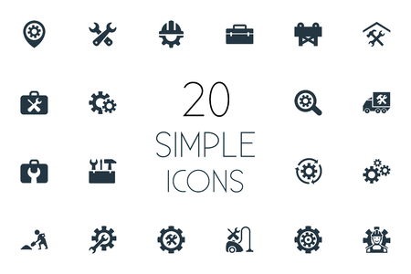 Vector Illustration Set Of Simple Fixing Icons. Elements Tool Case, Toolbox, Pin And Other Synonyms Toolbox, Service And Van.