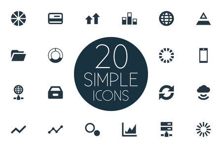 repeatability: Vector Illustration Set Of Simple Analysis Icons. Elements Pie Chart, Cloud, Increase And Other Synonyms Global, Case And Folder.