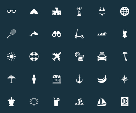 Vector Illustration Set Of Simple Seaside Icons. Elements Cycle, Sea, Tortoise And Other Synonyms Exotic, Sport And Glasses.