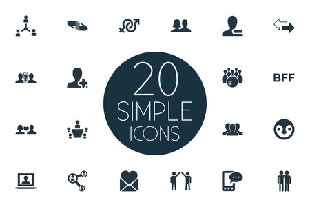 Vector Illustration Set Of Simple Fellows Icons. Elements Mail With Heart, Bff, Conference And Other Synonyms Communication, Gender And Plus.