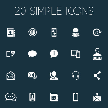 Vector Illustration Set Of Simple Connect Icons. Elements Web, Contacts, Global Trade And Other Synonyms Outgoing, Directory And International. Çizim