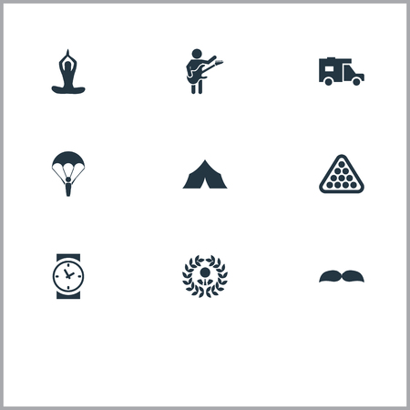 Vector Illustration Set Of Simple Fashion Icons. Elements Musician, Wristwatch, Camping And Other Synonyms Billiards, Yoga And Clock.