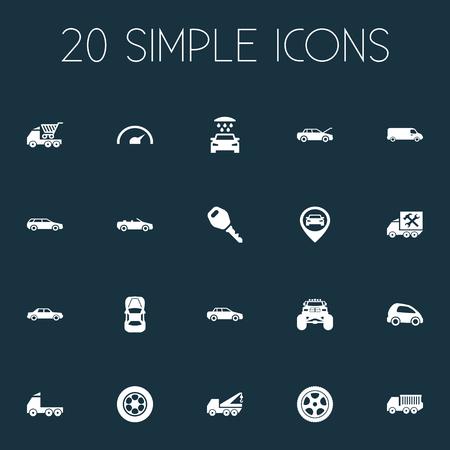 벡터 일러스트 레이 션 간단한 자동 아이콘의 집합입니다. 요소 수도꼭지, 속도, 수리 서비스 및 기타 동의어 몬스터, 수리 및 타이어.