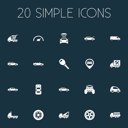 Vector Illustration Set Of Simple Auto Icons. Elements Faucet, Speed, Repairing Service And Other Synonyms Monster, Repairing And Tires.