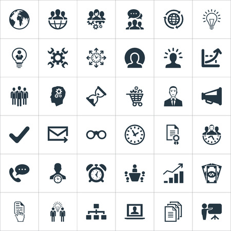 Vector Illustration Set Of Simple Brainstorming Icons. Elements Earth, Watch, Timing And Other Synonyms College, Round And Support.