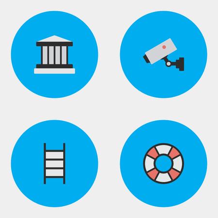 Illustrazione vettoriale Set of Simple Criminal Icons. Elementi Supervision, Grille, Lifesaver e altri sinonimi Court, Jail And Climbing. Archivio Fotografico - 85337889