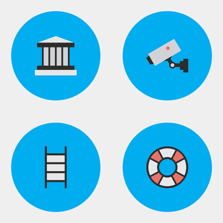Vector Illustration Set Of Simple Criminal Icons. Elements Supervision, Grille, Lifesaver And Other Synonyms Court, Jail And Climbing.