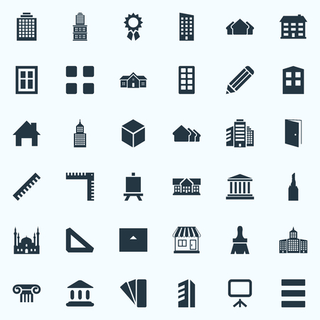 Vector Illustration Set Of Simple Structure Icons. Elements Offices, Approach, Menu And Other Synonyms Cottage, Reward And Box.