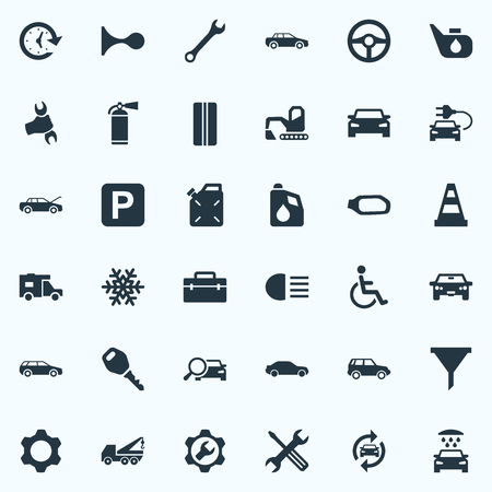 Vector Illustration Set Of Simple Vehicle Icons. Elements Spanner, Fuel, Lock And Other Synonyms Man, Filter And Detail. Illustration
