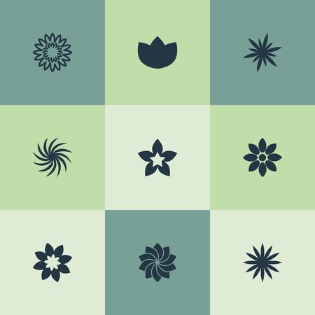 シンプルな桜のアイコンのベクトル イラスト セット。要素アルストロメリア、ジョンキル、牡丹、他の同義語ラークスパー、アスターと開花。