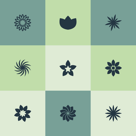 Vector Illustration Set Of Simple Blossom Icons. Elements Alstroemeria, Jonquil, Peony And Other Synonyms Larkspur, Aster And Blossoming. Ilustracja