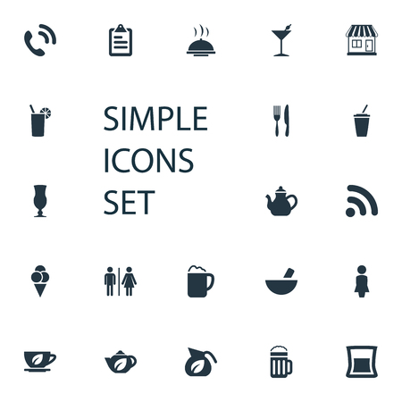 Vector Illustration Set Of Simple Cafe Icons. Elements Mortar, Wireless Connection, Toilet And Other Synonyms Handset, Toast And Kettle. Illustration