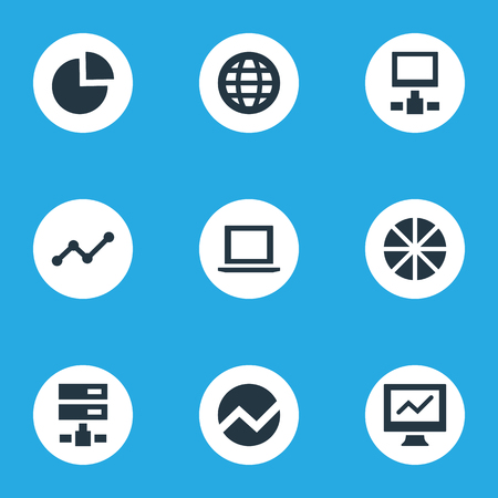 Vector Illustration Set Of Simple Business Icons. Elements Database, Circular Diagram, Earth And Other Synonyms Growth, Financial And World.
