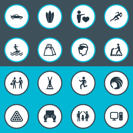 Vector Illustration Set Of Simple Yoga Icons. Elements Lineage, Walking, Cyberspace And Other Synonyms Board, Merchandise And Internet.