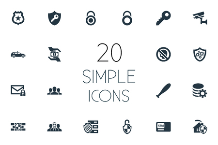 aegis: Vector Illustration Set Of Simple Secure Icons. Elements Defense, Security, Cop Automobile And Other Synonyms Locker, Lock And Team.