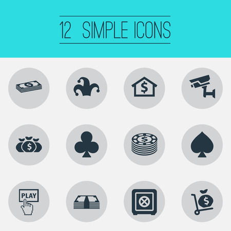 Vector Illustration Set Of Simple Casino Icons. Elements Cross, Security, Currency And Other Synonyms Cash, Play And Peaks. Illustration