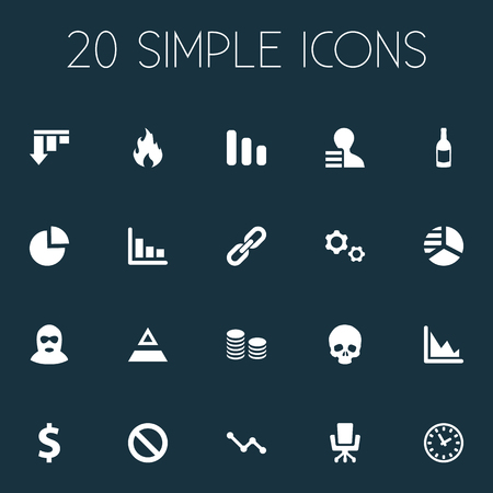 Vector Illustration Set Of Simple Situation Icons. Elements Cv, Chips Stack, Circular Diagram And Other Synonyms Growth, Resume And Economy. Ilustrace