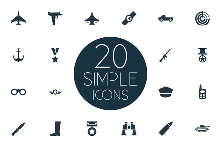 Vector Illustration Set Of Simple Army Icons. Elements Rifle Gun, Sky Force, Shield And Other Synonyms Walkies, Weapon And Cap.