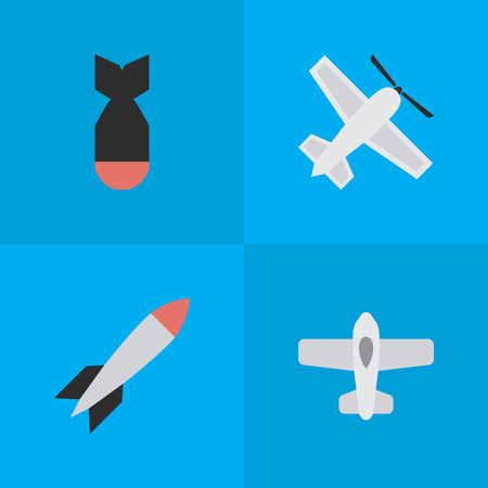 Vector Illustration Set Of Simple Aircraft Icons. Elements Bomb, Craft, Rocket And Other Synonyms Bomb, Airplane And Aircraft. Illustration
