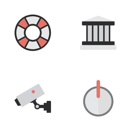 Illustrazione vettoriale Set of Simple Criminal Icons. Elementi di supervisione, cassaforte, salvagente e altri sinonimi: court, password e bagnino. Archivio Fotografico - 85425588